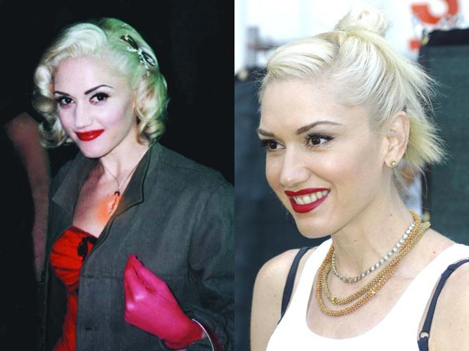 Gwen Stefani 2001-2012: The No Doubt star doesn't seem to have aged at all, trademark red lipstick and bleach blonde hair still in place.